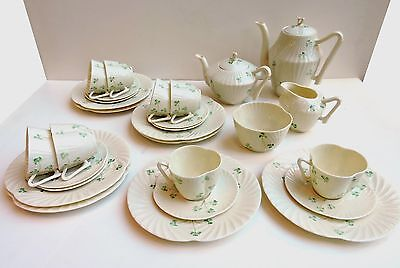 Irish Beleek HARP SHAMROCK Tea SET  for 8 - 28 pcs Tea & Coffee, 8 Plates, 8 C&S