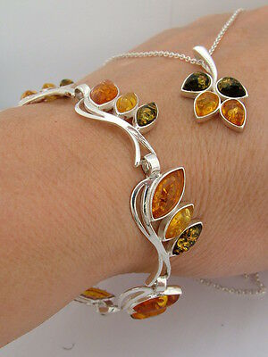Hallmarked Solid Sterling Silver Necklace Baltic Amber Pendant And Bracelet Set