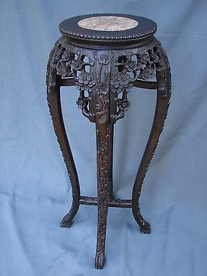 Victorian Antique Chinese Carved Marble Top Table Plant Stand w Original Finish