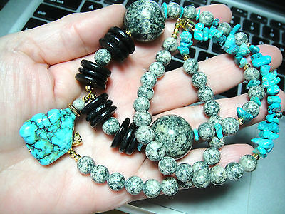 Vintage Turquoise Granite Long Chunky Necklace Beautiful