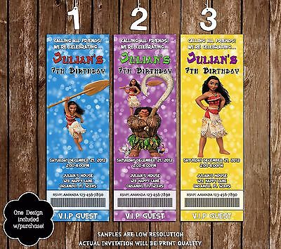 Moana - Movie - Ticket Birthday Invitations - 20 Printed W/envelopes