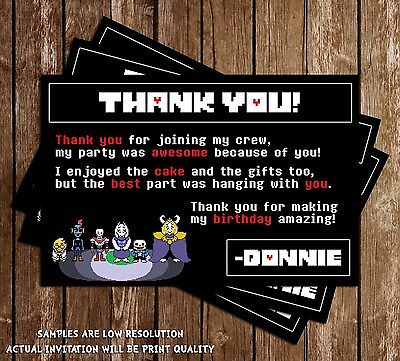 Undertale - Video Game - Birthday Thank You Cards - 15 Printed W/envelopes