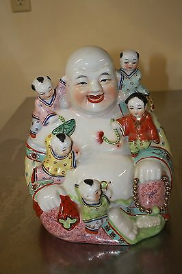 Vintage Ceramic Chinese Buddha Surrounded By 5 Children