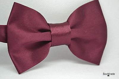 Men's Satin Bow Tie* With matching pocket square* Burgund Satin Handmade Bow tie