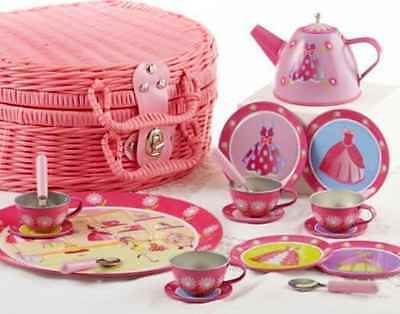 Delton Products Tin Tea Set Basket for Children Dress Up Design (19 Piece), 4""