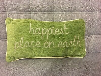 Disney Parks Happiest Place On Earth Green Accent Throw Pillow