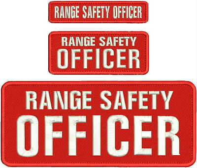 RANGE SAFETY OFFICER embroidery patches 4x10 1X5And 2x5  hook on back RED/white