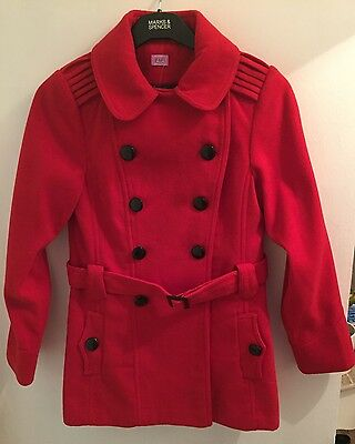 NWT Girls F&F Red belted Coat Age 11-12 Winter/Christmas/school