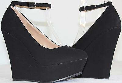 Brand New Women's Round Toe Ankle Strap High Heel Platform Wedge Pumps Shoes