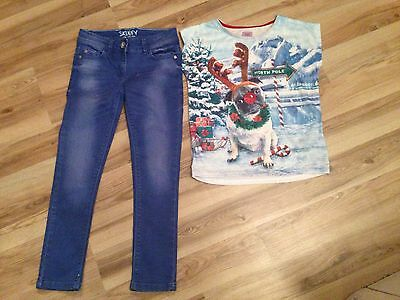 VGC Next Blue Skinny Jeans Age 8 And F&F Xmas Dog T-shirt Age 8-9