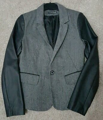 Primark womens tweed and leather look blazer size 8
