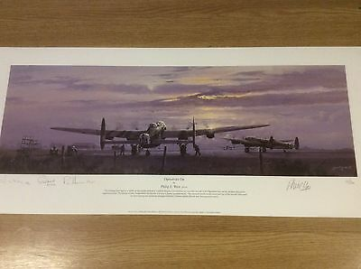 Operations On Philip West Print Signed  By Three Stirling Aircrew Ltd Edition