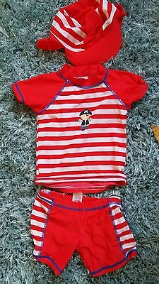 Baby toddler Boys Swimsuit And Matching Sun Hat Age 12-18 Months