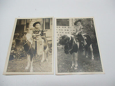 Antique Cabinet photo LOT OF  2  Boy and Girl Riding a pony.