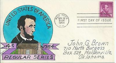 1036  4c Abe Lincoln ; W.N. WRIGHT Hand Drawn and Hand Painted Cachet on FDC