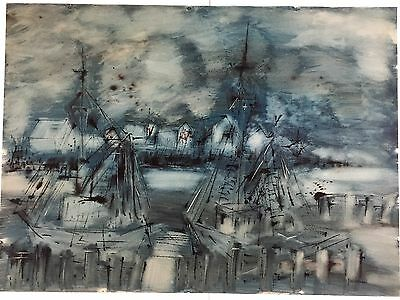Large Mid Century Modern Watercolor & Ink Fishing Vessels at Dock, Signed.     a