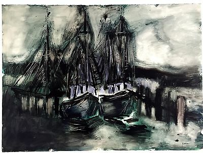 Large Mid Century Modern Watercolor & Ink Fishing Vessels at Dock, Signed.     c