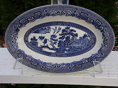 Vintage Johnson Bros England Willow Oval Serving Plate