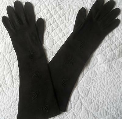 Vintage 1960's Ladies Mid Fore-Arm Embroidered Black Gloves Western Germany 7