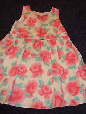 F & F girls summer dress fully lined, pleating to front, aged 5 - 6