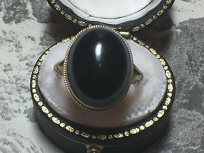 Lovely Antique Edwardian 9Ct Gold Banded Agate Ring