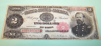 "1891 $2 TWO DOLLARS LARGE SIZE ""McPHERSON"" TREASURY NOTE #B18116049*"