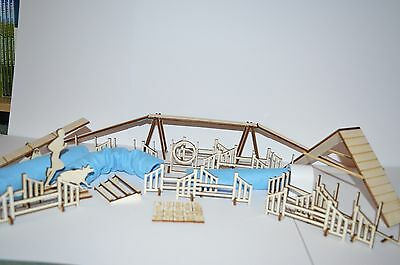 Table Top Dog Agility Set including Tunnels, Jumps and weaves scale 1:24