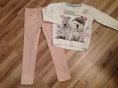 Next Pale Pink Jeans/Trousers Age 8 And Next Xmas Dog Jumper Age 8