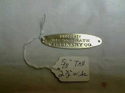 Antique  Oval Brass Furniture Name Plate EISENDRATH MILLINERY CO