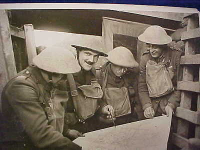 Orig WW1 R/P Pouring Over A Map British Western Front Awesome Helmet Covers