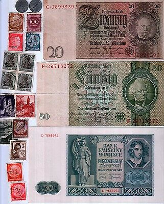 Nazi Germany Banknote, Coin And Stamp Set   # 20 + Wwii Feldpost Postcard
