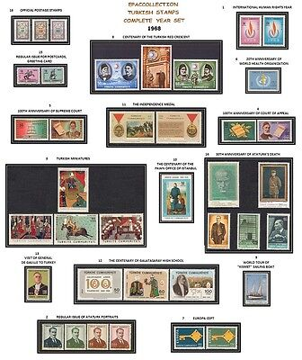 Turkey 1968 Complete Year Set, Includes Official And Definitive Stamps, Mnh