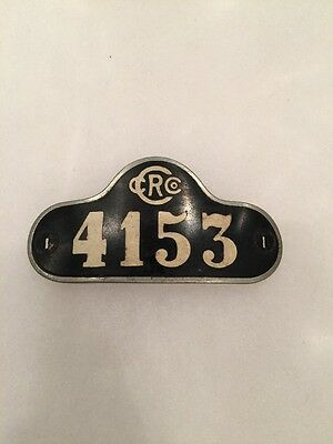 Vintage Retired CRC: Chicago Railroad Company Metal Hat Badge: Number 4153