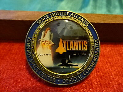 Nasa Atlantis Medallion Contains  Metal Flown On Space Shuttle Mission  Wow !!!