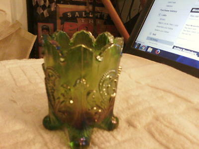 Lovely Green Carnival Glass 4 footed Joe St. Clair toothpick holder