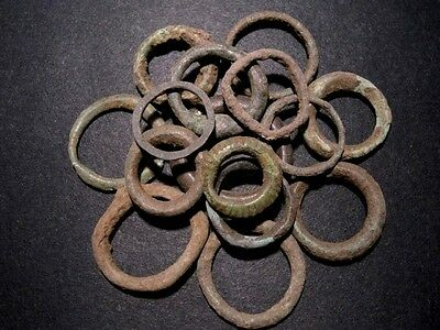 LOT of 15pcs. RARE CELTIC BRONZE RING MONEY PIECES, AS FOUND CONDITION+++