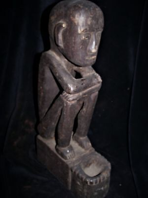 "Ifugao Ritual Sitting  Bulul, With Bowl On Head, 16"" Early 1900S Provenance"