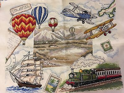 Cross Stitch Travel themed picture, hand-made, incredible details! 32/47 cm