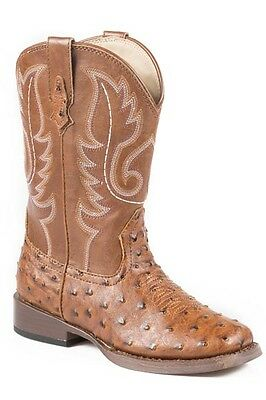 ROPER - Youth - Bumps Square Toe Boots - Ostrich Tan - 19900807 - NEW