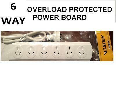 New 6 Way Overload Protected Power Board - 6 Outlets