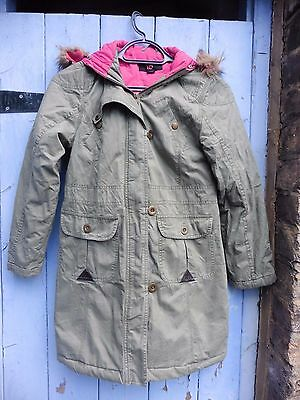 Girls Parka Jacket/coat  Primark  9-10 Green Cotton Pristine Quality/ Condition