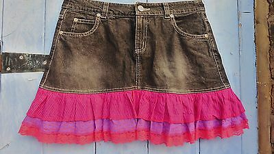 Girls Skirt SOPHIE  age14 Black Denim with Fabric, Excellent Condition