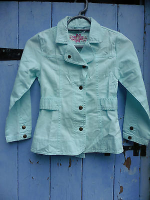 Girls Jacket age 8-9 Turquoise Cotton, Excellent Quality & Condition (Peacocks?)