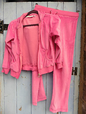 Girls Hoody& Trousers Pink Velour  80% Cotton, Perfect cond. Heart zipper.