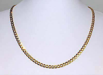 Solid 18k Yellow Gold Curb Chain 45cm 4mm Wide Mens Ladies Stamped #733463