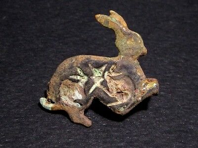 EXTREMELY RARE ROMAN BRONZE FIBULA in Shape of a RABBIT+++