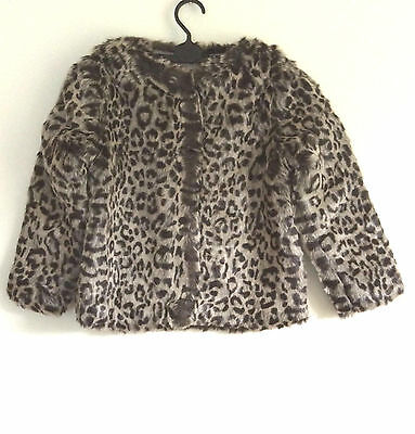 Christmas New Year party Girls Faux Fur Leopard Print Coat, gift, UK, beautiful