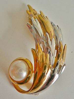 Broche argent massif dore perle VINTAGE Sterling silvergilt Pearl Brooch Brosche