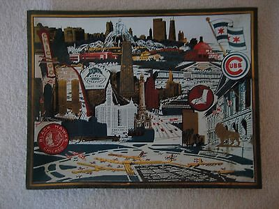"""1960's Chicago Glass Souvenir Tray 7"""" x 9"""" Very Colorful Reha Glass Co."""