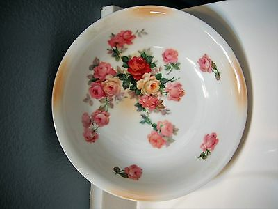 Antique Vintage Porcelain Deep Serving Bowl With Pink Yellow Red Roses  Germany